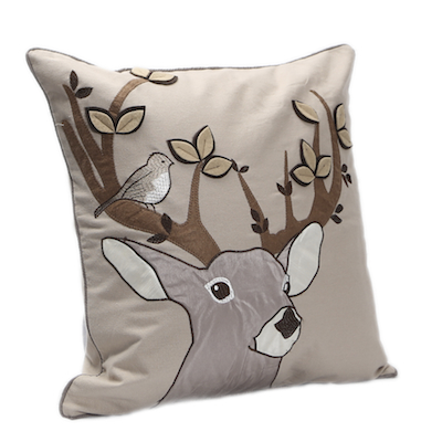 Prancer Stag Cushion (Taupe)